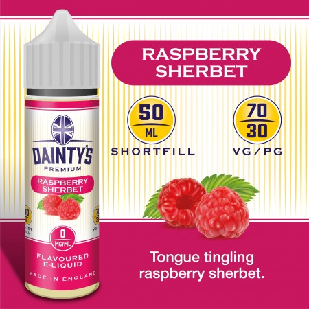 Raspberry Sherbet - Daintys E Liquid Shortfill 50ml 0mg