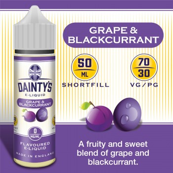 Grape & Blackcurrant - Daintys E Liquid Shortfill 50ml 0mg