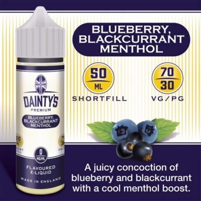 Blueberry, Blackcurrant & Menthol - Daintys E Liquid Shortfill 50ml 0mg