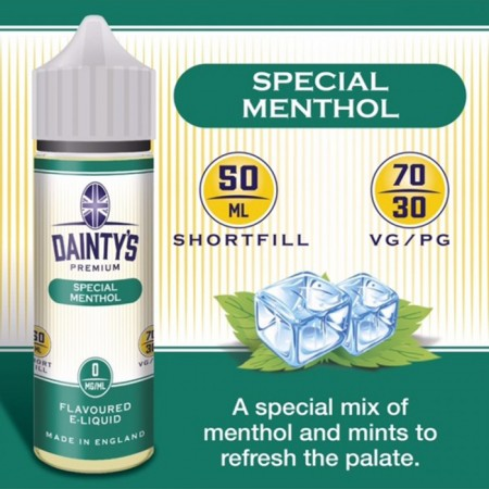 Special Menthol - Daintys E Liquid Shortfill 50ml 0mg