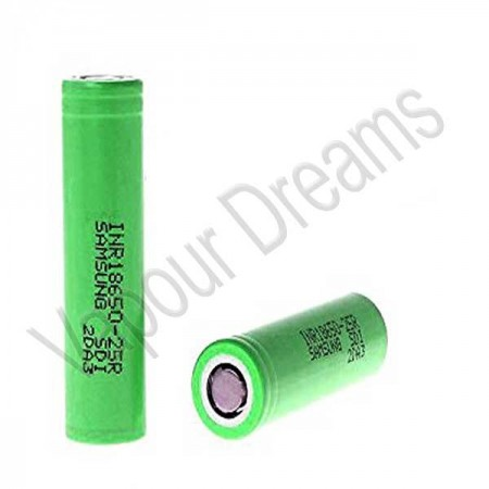 Samsung 25r INR 18650 2500mah - Flat Top 20 AMP Battery